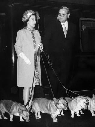 Queen Elizabeth arriving at London's Kings Cross station with her four corgis in 1969. Picture: STF