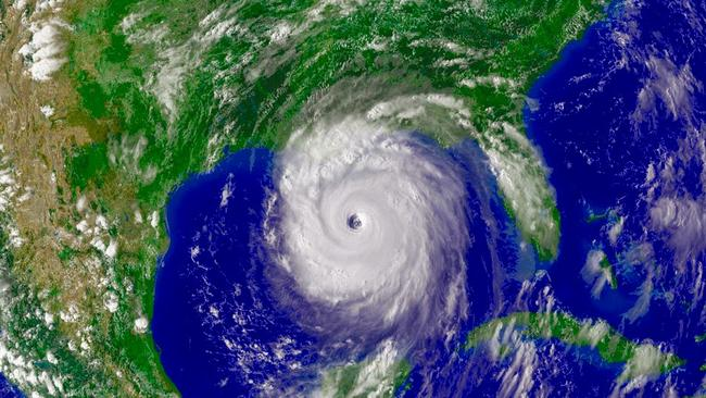 One of the most powerful and disruptive storms in U.S. history, Hurricane Katrina (2005) strikes land. Pic: NASA.