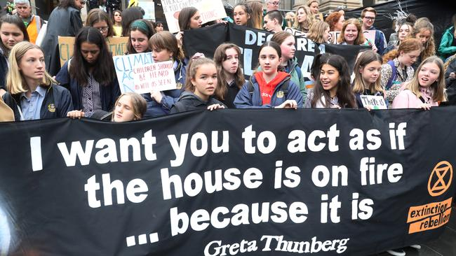 Young protesters on the streets of Melbourne during a Global Climate Strike on May 24. Picture: AAP