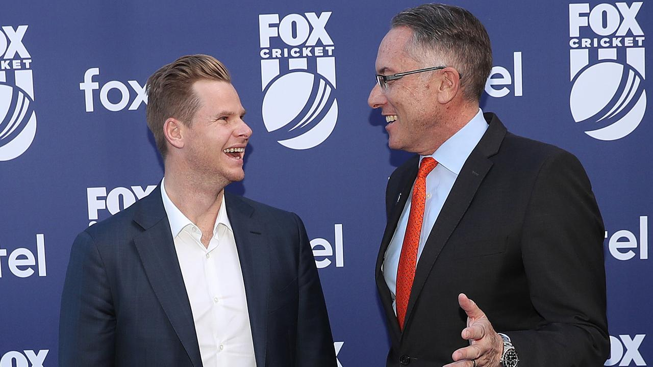 Steve Smith and Fox CEO Patrick Delany share a laugh