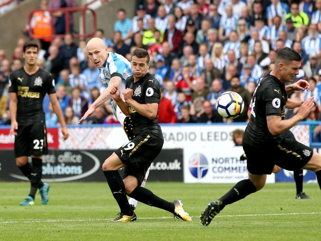 Aaron Mooy scored Huddersfield Town's first ever home goal in the Premier League.