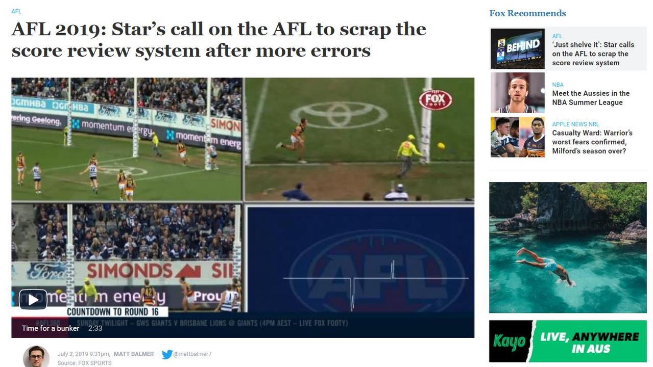A foxsports.com.au screengrab about the AFL review system.