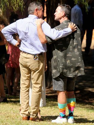 "Shaun McNamara wears a brown island print shirt and colourful ""grubba"" socks. Picture: Nathan Edwards"