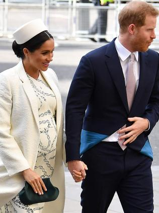 The Duchess and Duke of Sussex pictured arriving a Commonwealth Day Service at Westminster Abbey last month. Picture: AFP