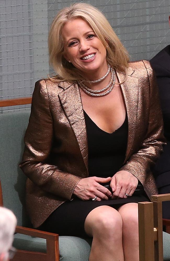 Chloe Shorten wearing the necklace. Picture Kym Smith