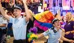 Police Officers take part in the 42nd annual Gay and Lesbian Mardi Gras parade in Sydney, Saturday, February 29, 2020. (AAP Image/James Gourley) NO ARCHIVING