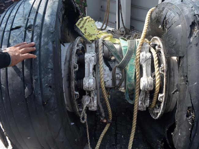 The wheels of the ill-fated Lion Air flight JT 610. Picture: Adek Berry / AFP)