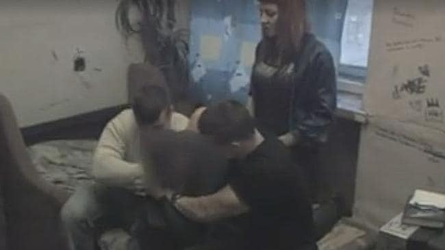 A victim can be seen being 'punished' in Channel 4 documentary Hunted. Picture: Screengrab/Channel 4