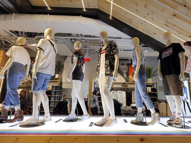 In this June 14, 2019, photo mannequins display Levi's products on the lower level of the Levi's store in the New York's Times Square. Picture: AP