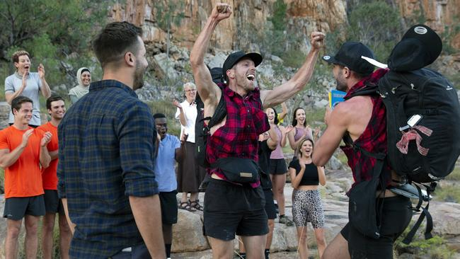 Tim and Rod leapt with joy on realising they'd won The Amazing Race tonight. Picture: supplied
