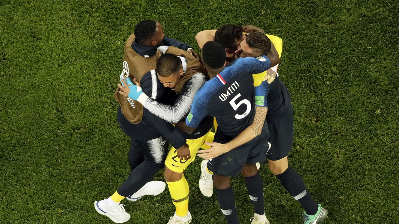 France players celebrate after winning through to the World Cup final over Belgium