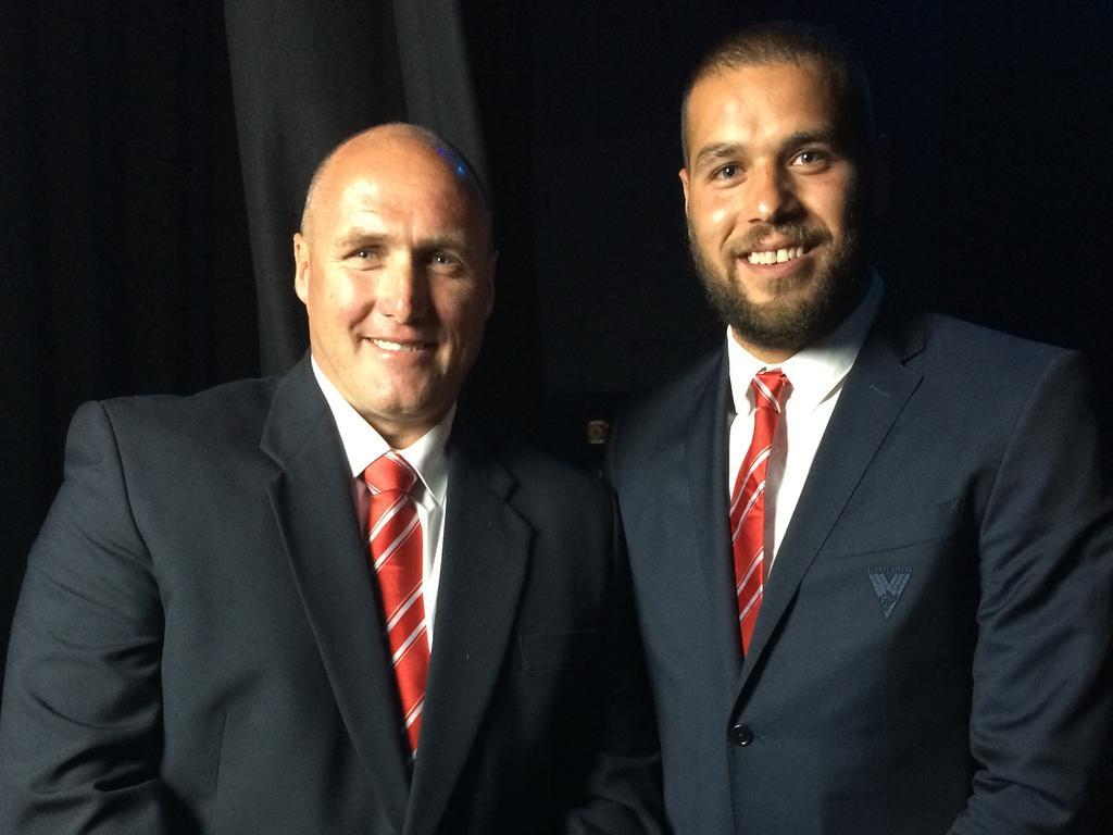 Sydney Swans legends Tony Lockett and Buddy Franklin in 2014.