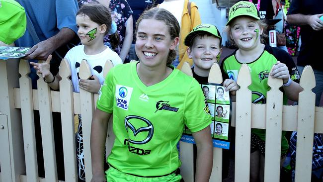 Phoebe Litchfield takes a photo with fans after playing for the Thunder. Picture: Phil Hillyard