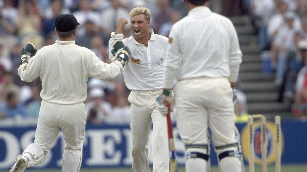 Shane Warne made a splash with his first ball in the Ashes.