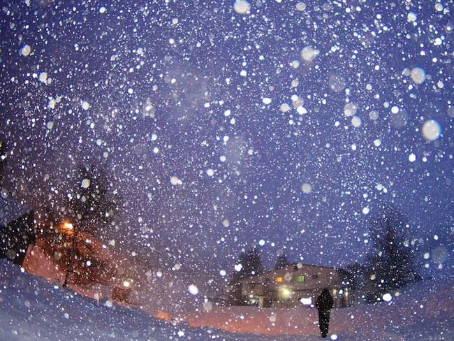 Giant snow flakes in Falls Creek this morning. Picture: Falls Creek Facebook.