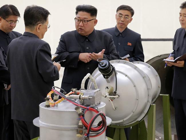 Kim Jong Un inspects a hydrogen bomb in North Korea. Picture: AP