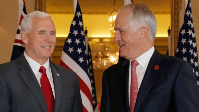 U.S. Vice President Mike Pence (L) meets with Australia's Prime Minister Malcolm Turnbull at Admiralty House on April 22, 2017 in Sydney, Australia. Photo by Jason Reed-Pool/Getty Images.