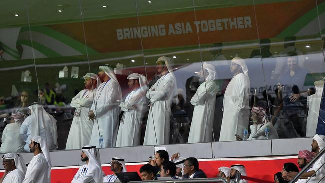 Fans watch the AFC Asian Cup semi final match between Qatar and United Arab Emirates at Mohammed Bin Zayed Stadium. Picture: Getty Images