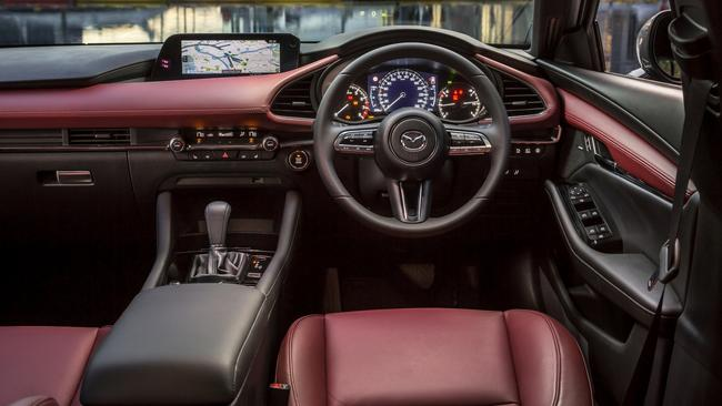 Premium Mazda3 variants are available with burgundy-coloured leather.