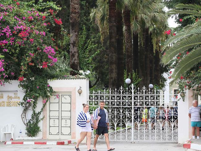 Les Orangers hotel in Tunisia has reportedly been holding Thomas Cook customers 'hostage' over unpaid debts. Picture: Anis Mili/AFP