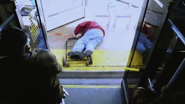 He fell face first onto the pavement. Picture: Las Vegas Metropolitan Police Department/AP