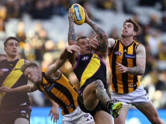 Dustin Martin takes a mark. (Photo by Robert Cianflone/Getty Images)
