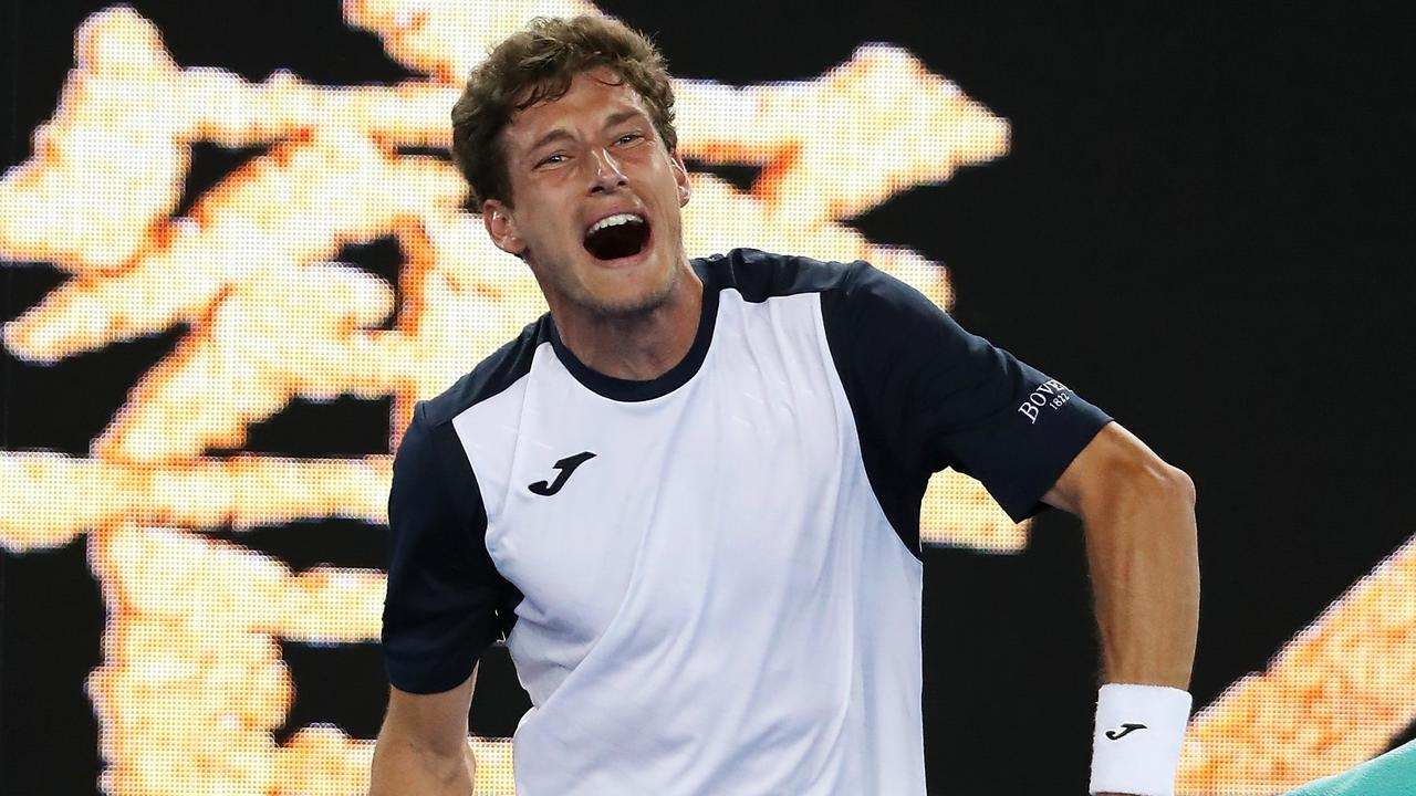 Pablo Carreno Busta reacts after his five-set loss to Kei Nishikori. (Photo by Mark Kolbe/Getty Images)