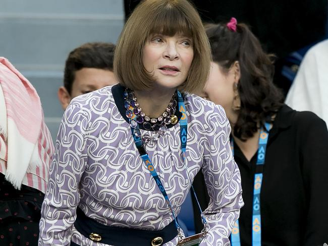 Anna Wintour is in Melbourne for the Australian Open and has already dazzled onlookers with her immaculate styling. Picture: AAP