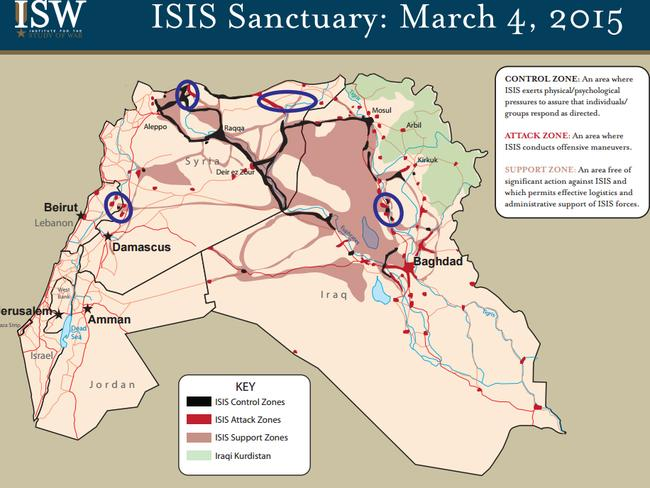 ISIS Sanctuary ... Artwork taken from the Institute For The Study Of War website. Picture: Supplied