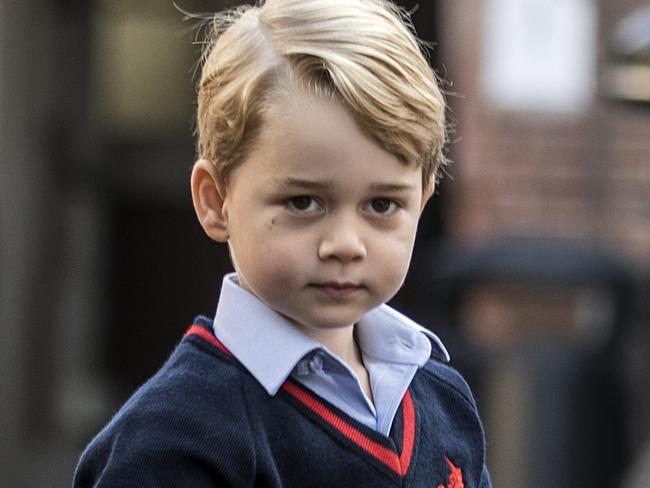 Prince George's picture was shared on the Telegram app by a man charged with terror offences. Picture: AFP PHOTO / POOL / RICHARD POHLE