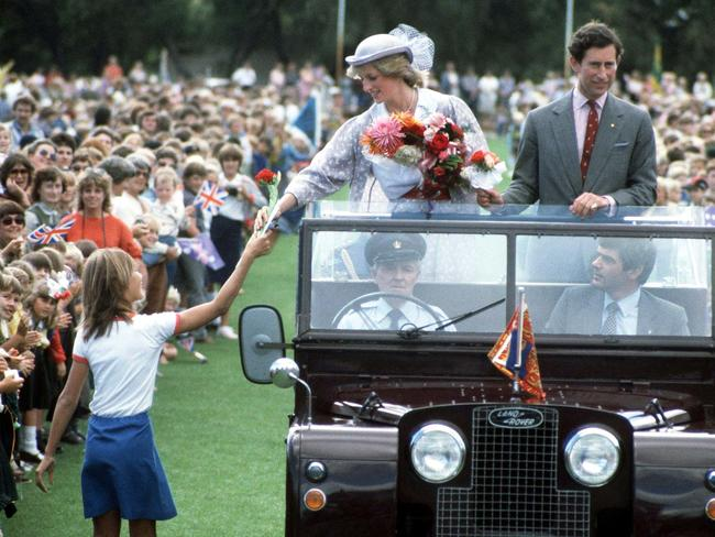 The crowds turned out to see them in Bunbury in April 1983. Picture: Jayne Fincher/Princess Diana Archive/Getty Images