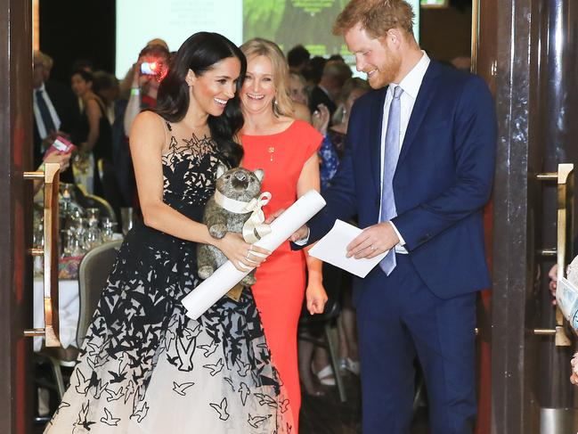 The Duke and Dutchess of Sussex, their Royal Highnesses Prince Harry and Meghan Markle, arrive at the Australian Geographic Society Awards at Shangri-La Sydney. Picture: Dylan Robinson