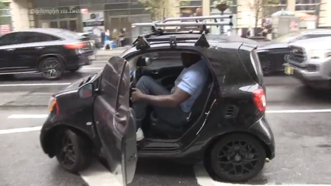 Shaquille O'Neal is a big man with a small car
