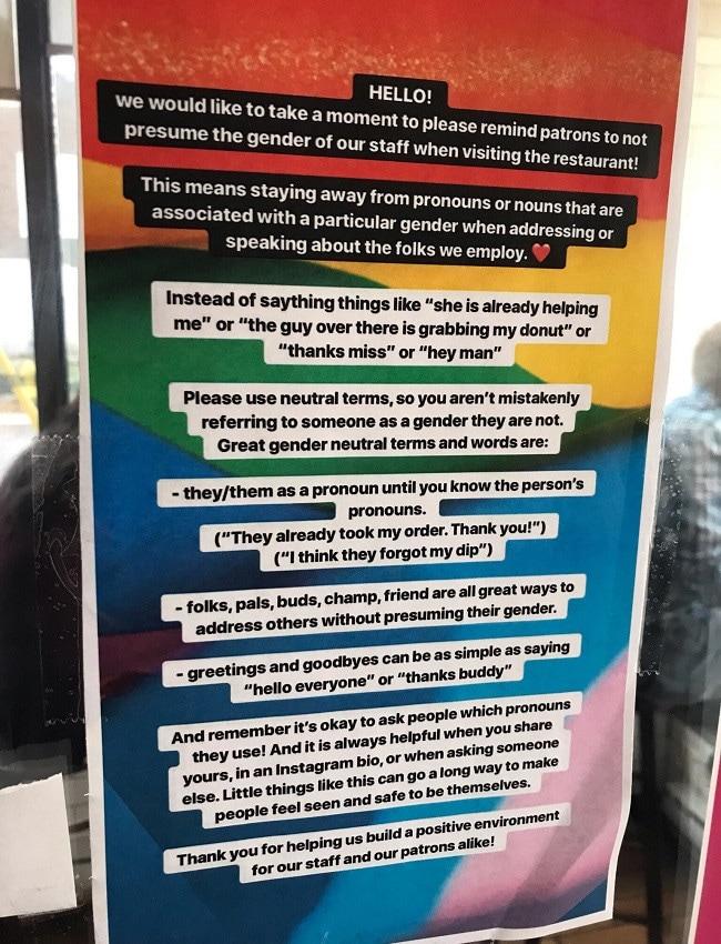 Restaurant sign about misgendering staff. Picture: Reddit/Twitter
