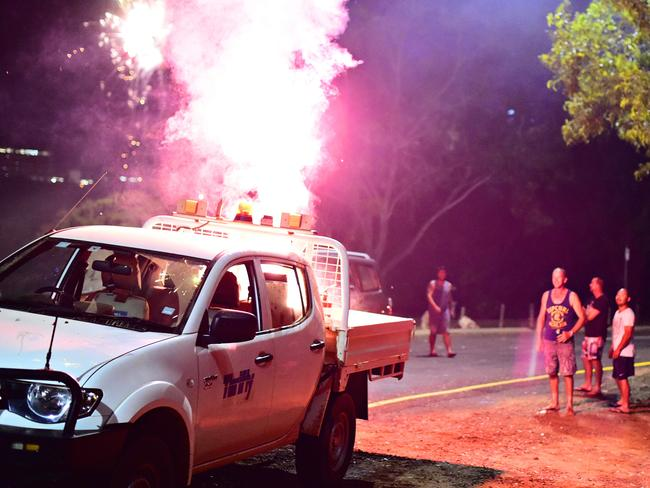 Some firework users found themselves in a pickle after lighting fireworks on the back of their hire ute on Territory Day in Darwin.