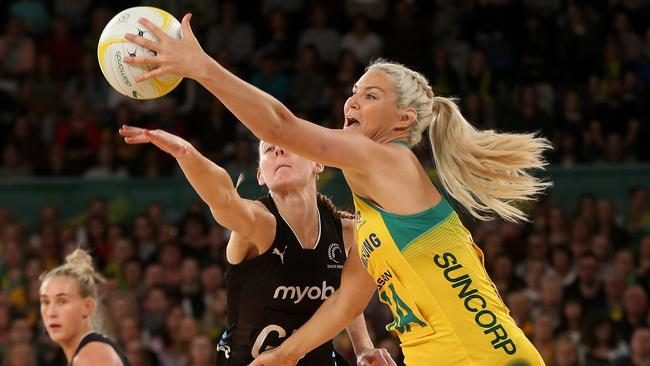 Gretel Tippett in action against the Silver Ferns during the Quad Series.