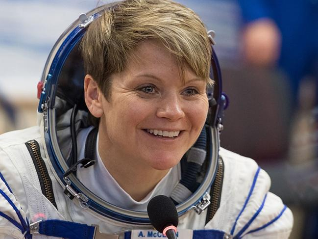 Expedition 58 Flight Engineer Anne McClain of NASA speaks with friends and family after having her Russian Sokol suit pressure checked. Picture: NASA