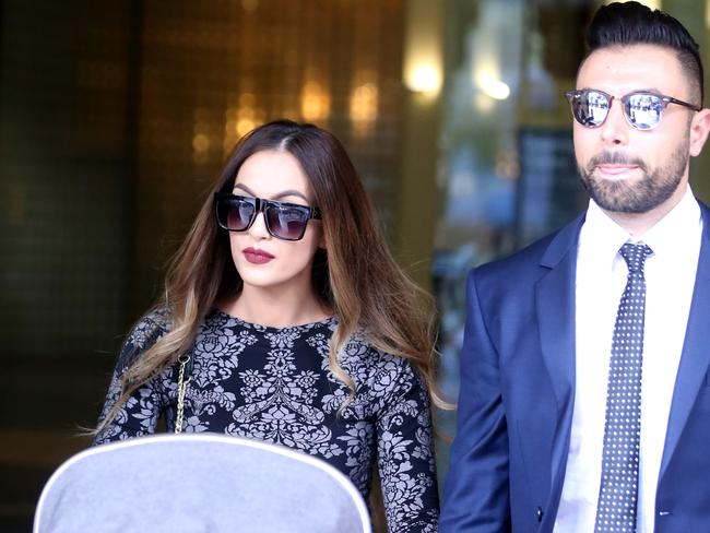 Fatima Elkheir nee Mehajer and husband leave the Downing Centre local court. Picture: John Grainger