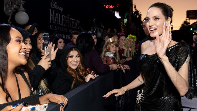Jolie at the Maleficent: Mistress of Evil premiere in LA this week. Picture: Emma McIntyre/Getty Images for MAC Cosmetics