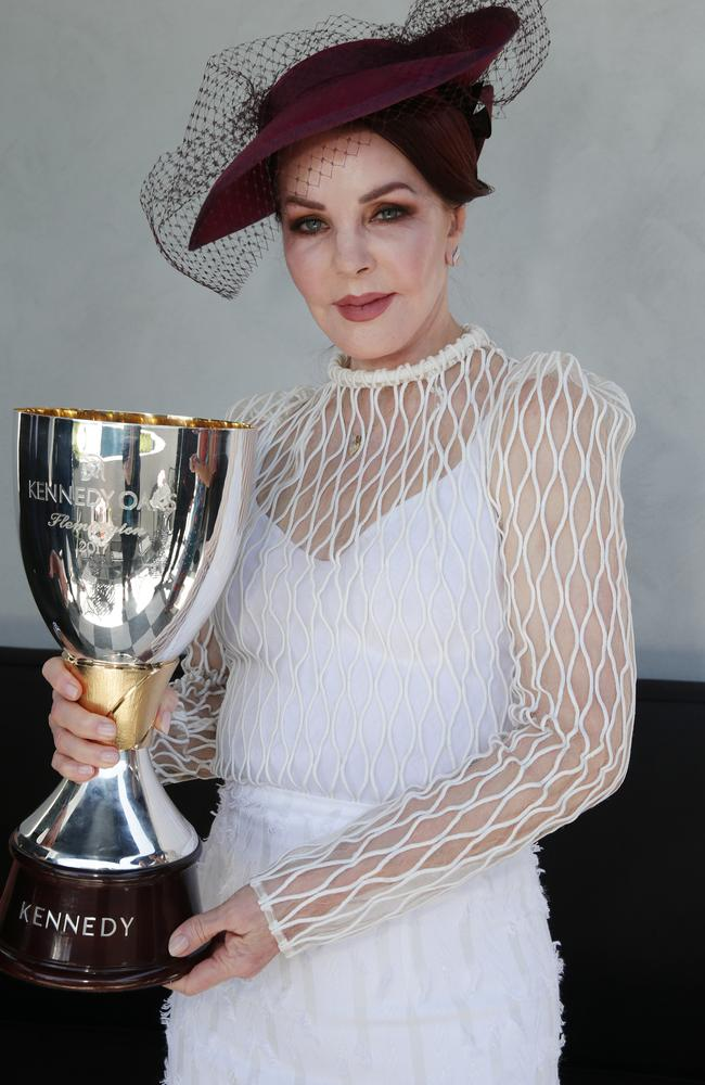 Priscilla Presley at the Kennedy Marquee for Oaks Day. Picture: Julie Kiriacoudis