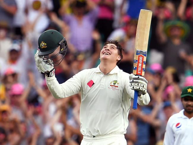 Matt Renshaw celebrates his maiden Test century in January 2017.