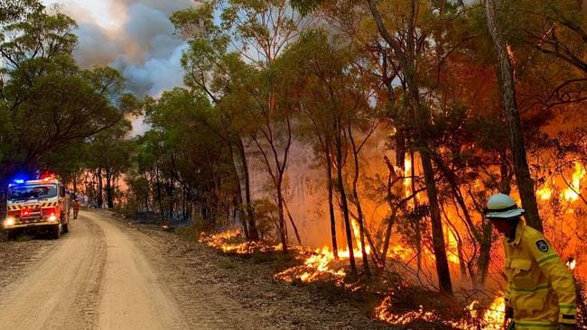The Gospers Mountain fire, burning in the Yengo and Wollemi National Parks. Picture: Westleigh RFS