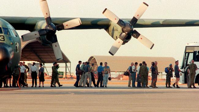 East Timor evacuees arrive at Darwin RAAF Base, on this day in 1999.