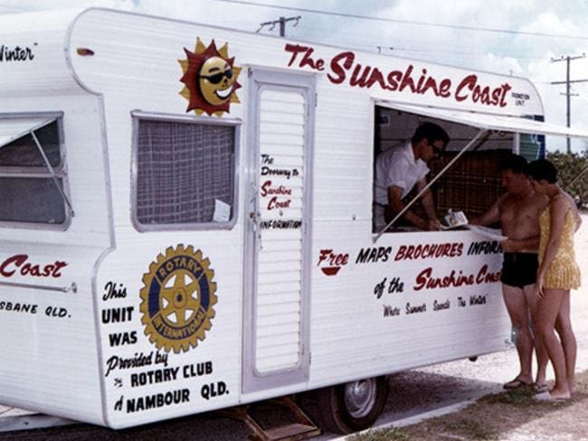 A Sunshine Coast promotion caravan distributing information to tourists, 1971. Picture: Visit Sunshine Coast