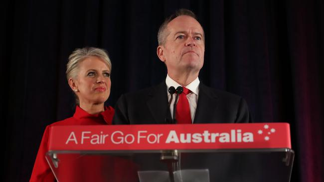 Bill Shorten concedes defeat. Picture Kym Smith