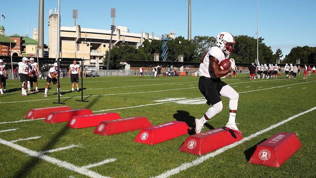 Running back Bryce Love and the Stanford Cardinals train ahead of their game against Rice on