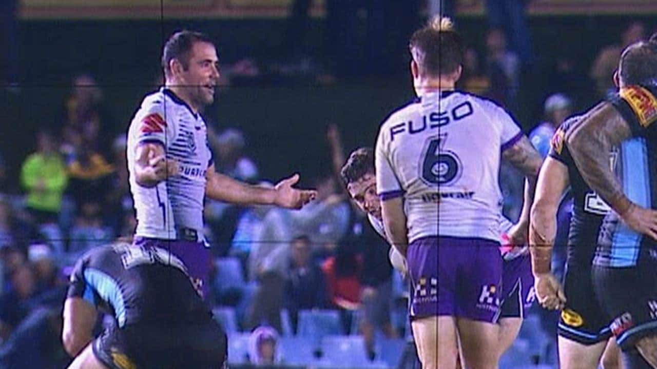 Cameron Smith and Cameron Munster exchange words after the last play in the Storm's Round 8 loss to the Sharks.