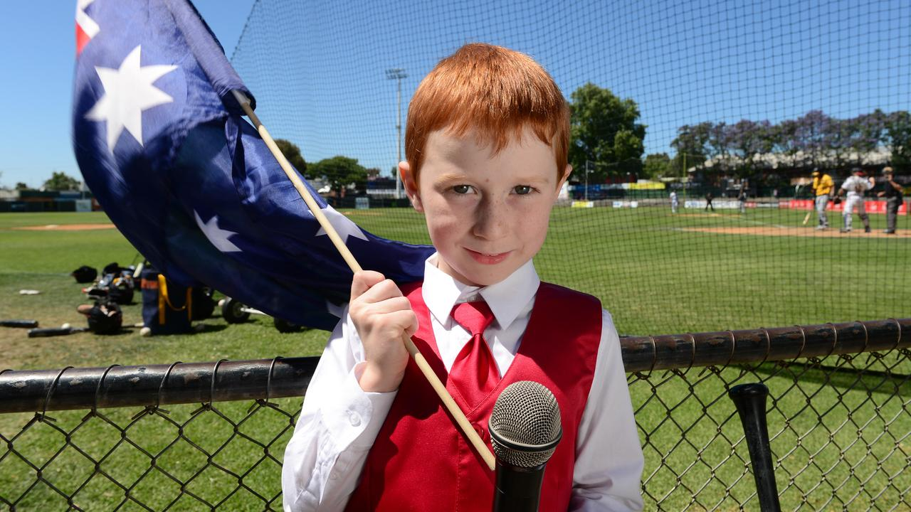 Ethan Hall 7, probably felt embarrassed when he was trying to sing the national anthem with hiccups in front of a big crowd, but most people thought he did a great job to keep singing. Picture: Tricia Watkinson