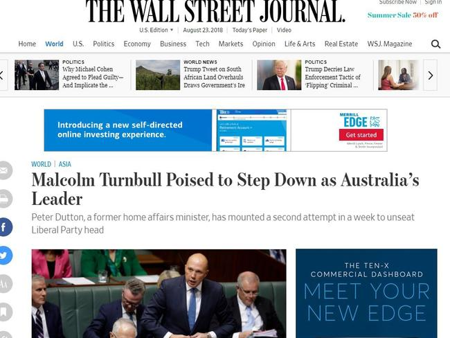 The Wall Street Journal spoke to Australian businesses about what the leadership crisis meant for them. Picture: The Wall Street Journal.