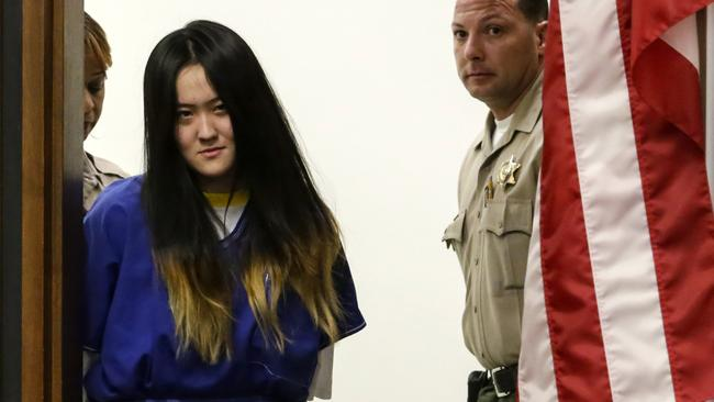 Yunyao Zhai steps into court for a sentencing hearing earlier this year. She was accompanied by Yuhan Yang, 19 and male co-defendant Xinlei Zhang in the brutal attack of another Chinese 'Parachute kid'. Picture: Irfan Khan/Los Angeles Times/TNS
